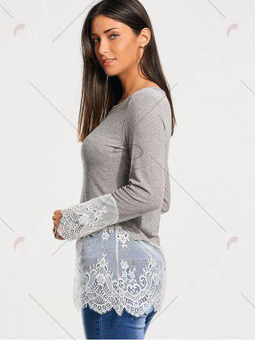 Store Lace Trim Panel Casual Knit Top - M GRAY Mobile