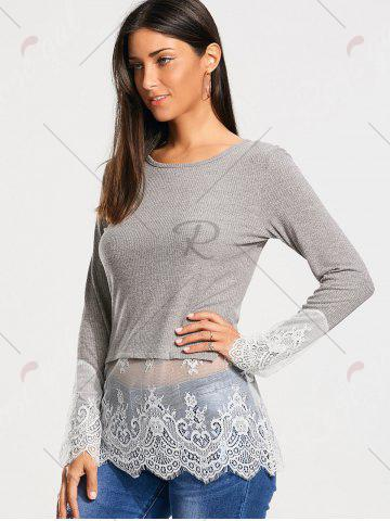 Fancy Lace Trim Panel Casual Knit Top - M GRAY Mobile