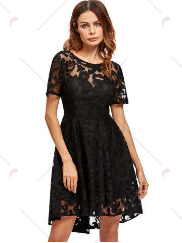 Shops Open Back Lace Mesh Cocktail Party Dress - S BLACK Mobile