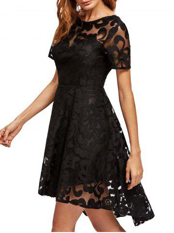 Best Open Back Lace Mesh Cocktail Party Dress - S BLACK Mobile