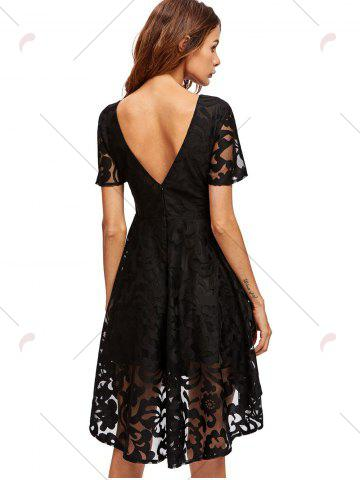 Hot Open Back Lace Mesh Cocktail Party Dress - M BLACK Mobile