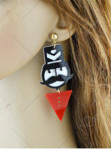 Affordable Funny Mustache Geometric Heart Figure Earrings - RED  Mobile