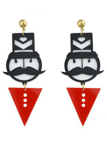 Latest Funny Mustache Geometric Heart Figure Earrings RED