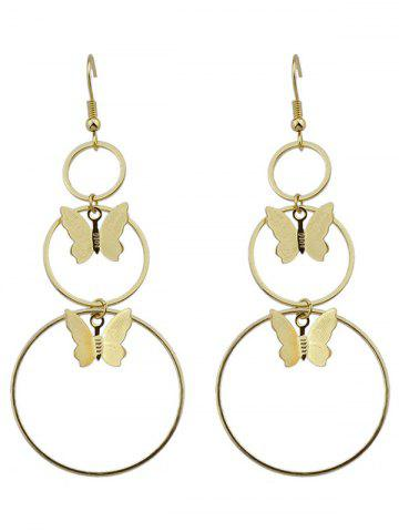 Affordable Alloy Metal Butterfly Circle Hook Earrings GOLDEN