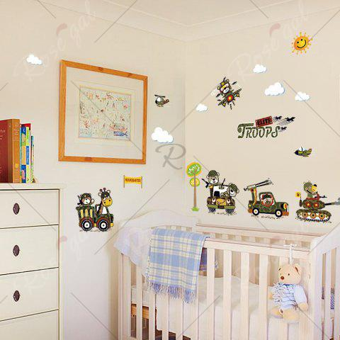 Store Cartoon Animal Troops Wall Art Sticker For Children Room - 50*70CM ARMY GREEN Mobile