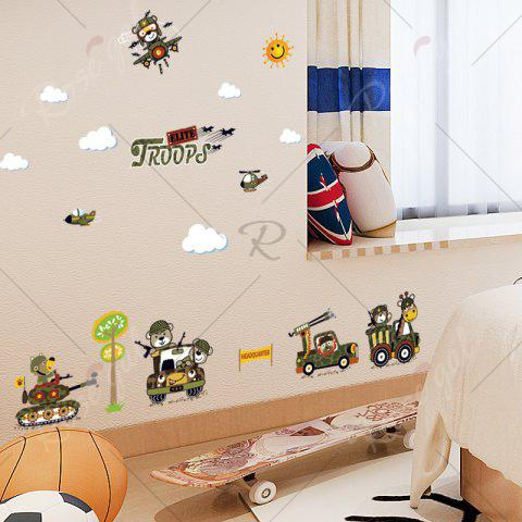 Unique Cartoon Animal Troops Wall Art Sticker For Children Room - 50*70CM ARMY GREEN Mobile