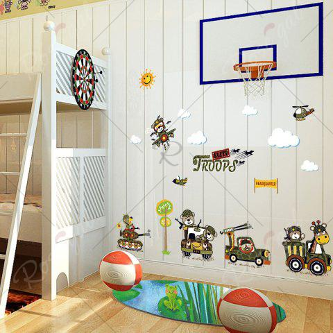Buy Cartoon Animal Troops Wall Art Sticker For Children Room - 50*70CM ARMY GREEN Mobile