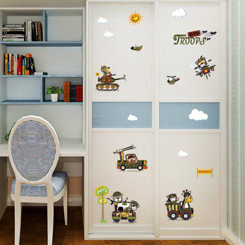New Cartoon Animal Troops Wall Art Sticker For Children Room ARMY GREEN 50*70CM