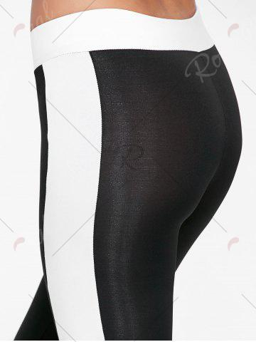Trendy High Waist Two Tone Sports Tights - S BLACK Mobile