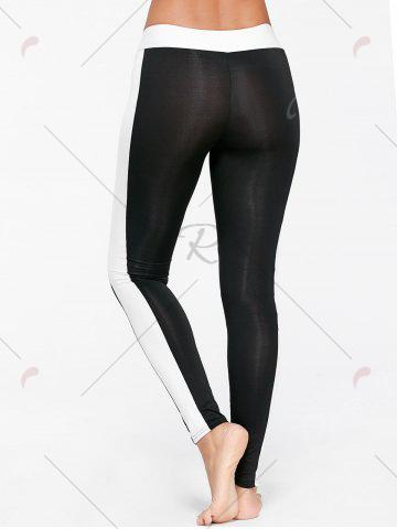 Affordable High Waist Two Tone Sports Tights - S BLACK Mobile