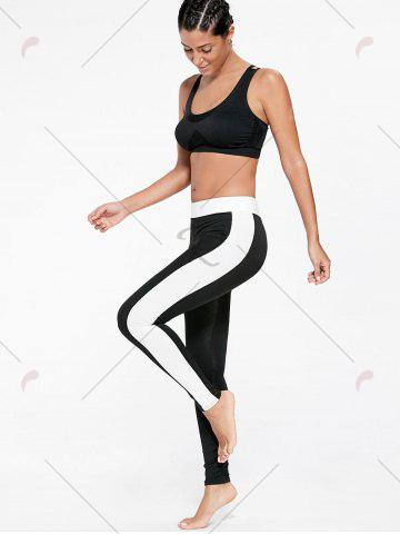 Fancy High Waist Two Tone Sports Tights - S BLACK Mobile