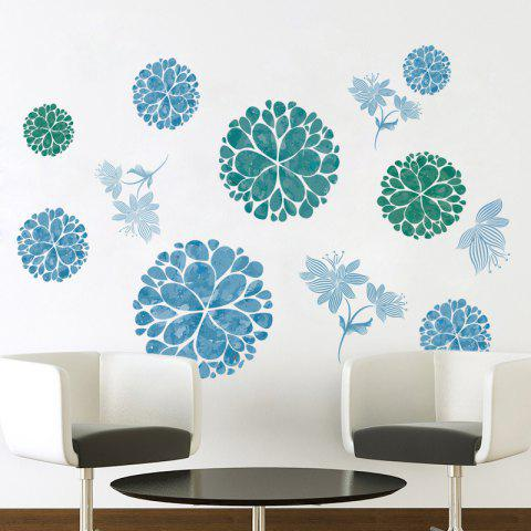Discount Floral Removable Wall Art Stickers For Bedrooms ICE BLUE 60*90CM