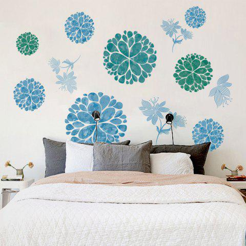 Fancy Floral Removable Wall Art Stickers For Bedrooms - 60*90CM ICE BLUE Mobile