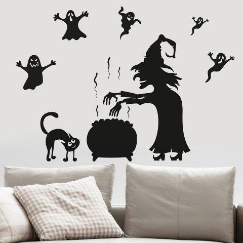 Fancy Halloween Witch Ghost Vinly Wall Art Stickers - 57*70CM BLACK Mobile