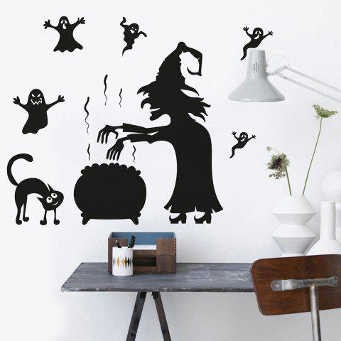 Latest Halloween Witch Ghost Vinly Wall Art Stickers - 57*70CM BLACK Mobile