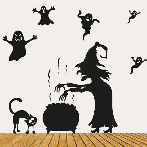 Sale Halloween Witch Ghost Vinly Wall Art Stickers BLACK 57*70CM