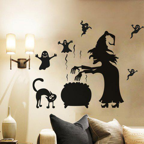 Online Halloween Witch Ghost Vinly Wall Art Stickers - 57*70CM BLACK Mobile