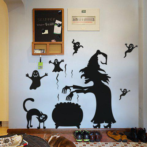 Outfits Halloween Witch Ghost Vinly Wall Art Stickers - 57*70CM BLACK Mobile