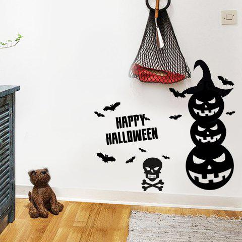 Online Happy Halloween Pumpkins Vinyl Wall Art Stickers - 57*34CM BLACK Mobile