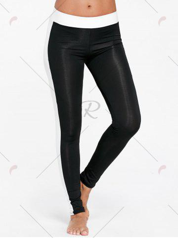 Fancy High Waist Two Tone Sports Tights - XL BLACK Mobile