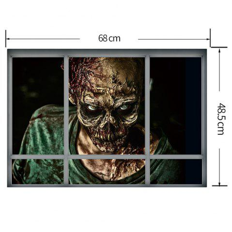 Outfits Halloween Window Zombie Removable 3D Wall Art Sticker - 48.5*68CM COLORMIX Mobile
