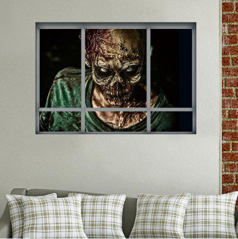 Latest Halloween Window Zombie Removable 3D Wall Art Sticker - 48.5*68CM COLORMIX Mobile