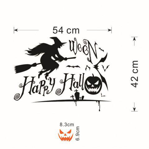 Sale DIY Halloween Witch Shape Wall Stickers - BLACK  Mobile