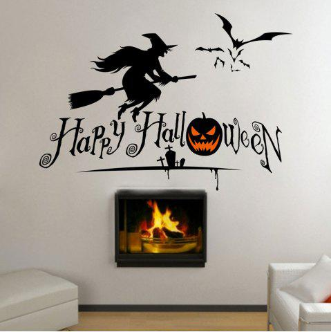 Hot DIY Halloween Witch Shape Wall Stickers - BLACK  Mobile