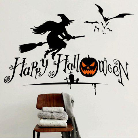 Affordable DIY Halloween Witch Shape Wall Stickers - BLACK  Mobile