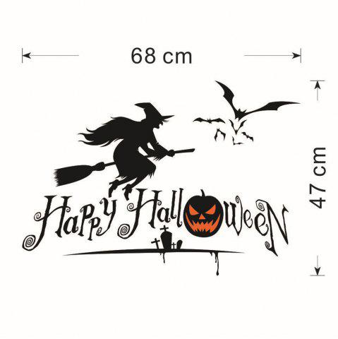 Shops DIY Halloween Witch Shape Wall Stickers - BLACK  Mobile