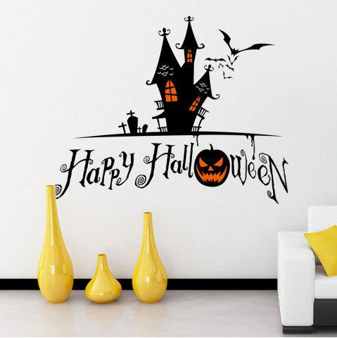 Hot Home Decor DIY Halloween Castle Shape Wall Stickers - BLACK  Mobile