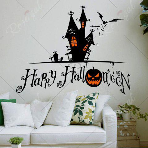 Best Home Decor DIY Halloween Castle Shape Wall Stickers - BLACK  Mobile