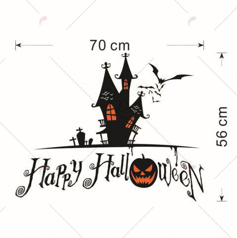 Online Home Decor DIY Halloween Castle Shape Wall Stickers - BLACK  Mobile