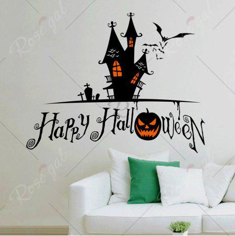 Shops Home Decor DIY Halloween Castle Shape Wall Stickers - BLACK  Mobile
