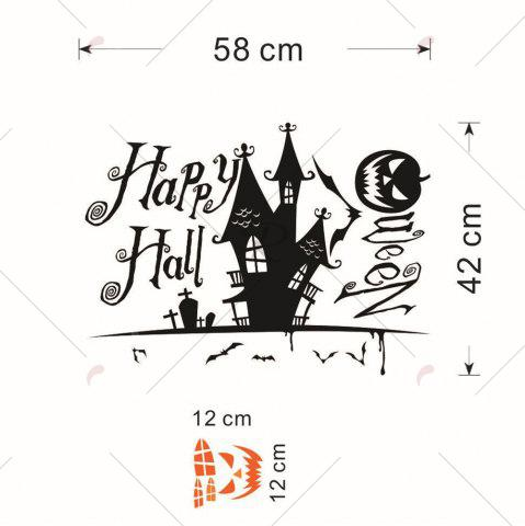 Discount Home Decor DIY Halloween Castle Shape Wall Stickers - BLACK  Mobile