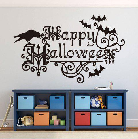 Discount Home Decor DIY Happy Halloween Shape Wall Stickers - BLACK  Mobile