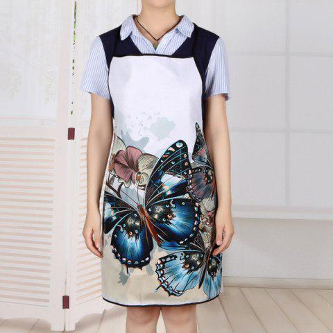 Buy Vintage Butterfly Print Waterproof Kitchen Apron - 80*70CM COLORMIX Mobile