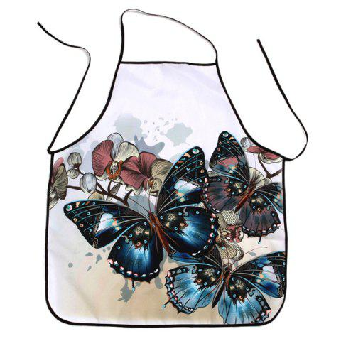 Discount Vintage Butterfly Print Waterproof Kitchen Apron - 80*70CM COLORMIX Mobile