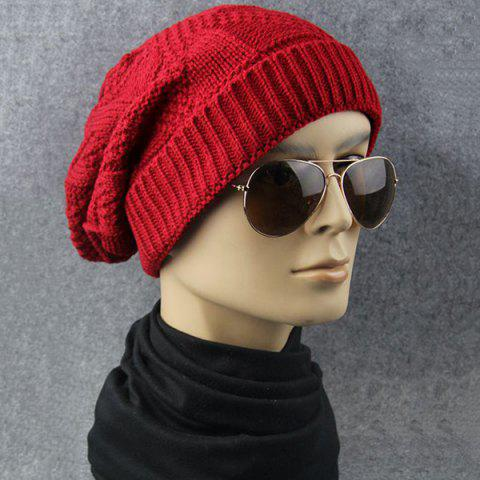 Online Trangle Stripe Knitted Folding Beanie - RED  Mobile