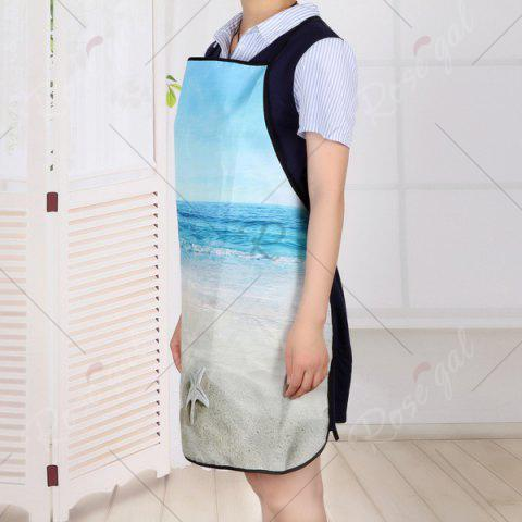 Buy Beach Conch Starfish Print Waterproof Kitchen Apron - 80*70CM COLORMIX Mobile