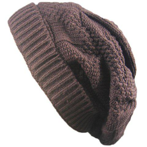 Store Trangle Stripe Knitted Folding Beanie - COFFEE  Mobile