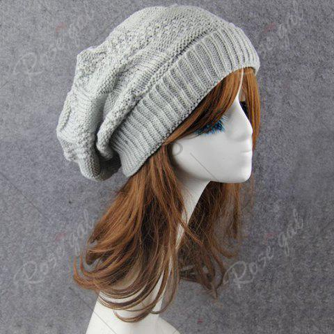 Outfits Trangle Stripe Knitted Folding Beanie - LIGHT GRAY  Mobile