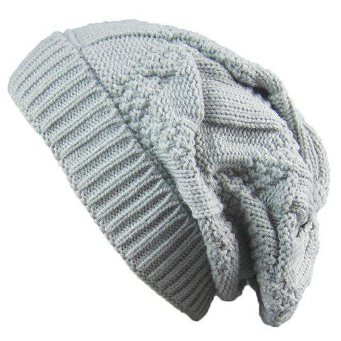 Fashion Trangle Stripe Knitted Folding Beanie - LIGHT GRAY  Mobile