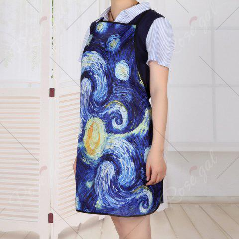 Store Galaxy Painting Print Waterproof Kitchen Apron - 80*70CM BLUE Mobile