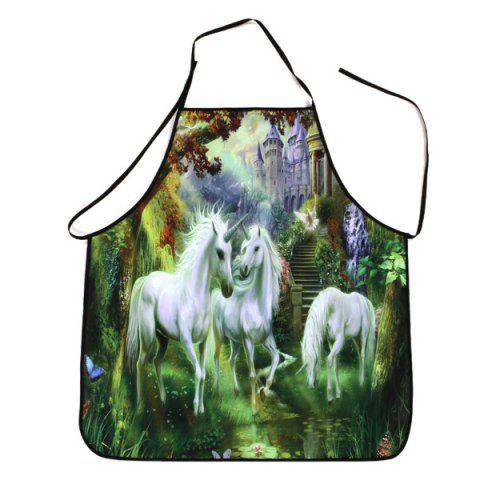 Unicorn Castle Print Waterproof Kitchen Apron