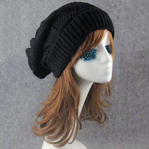 Trendy Trangle Stripe Knitted Folding Beanie - BLACK  Mobile