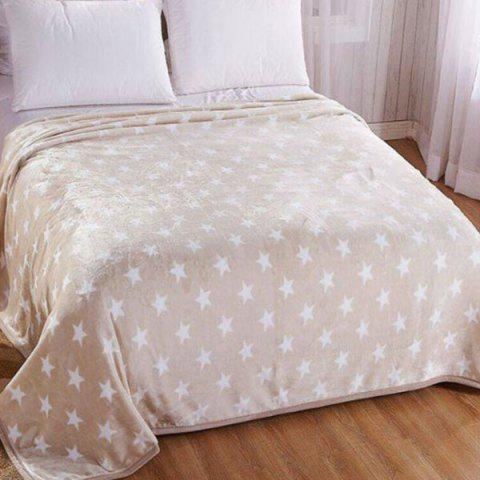 Trendy Star Print Soft Bedroom Throw Blanket - DOUBLE LIGHT BROWN Mobile