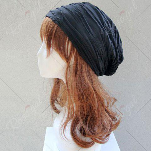 Chic Knitting Fold Layer Warm Beanie Hat - BLACK  Mobile