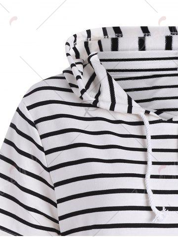 Latest Plus Size Pocket Striped Hooded Tee Dress - 3XL WHITE Mobile