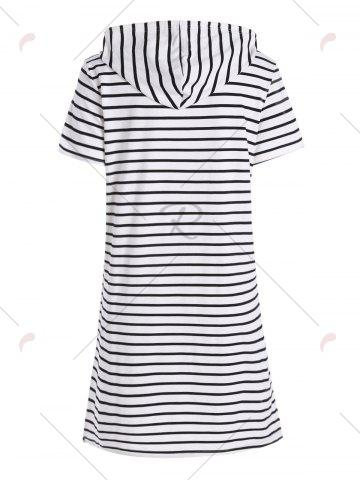 Chic Plus Size Pocket Striped Hooded Tee Dress - 3XL WHITE Mobile